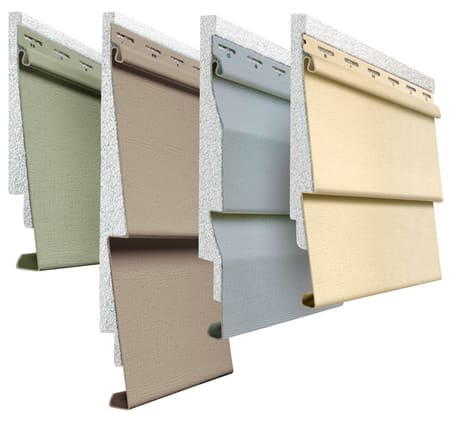 Cross section of insulated vinyl siding with foam insulation and color options